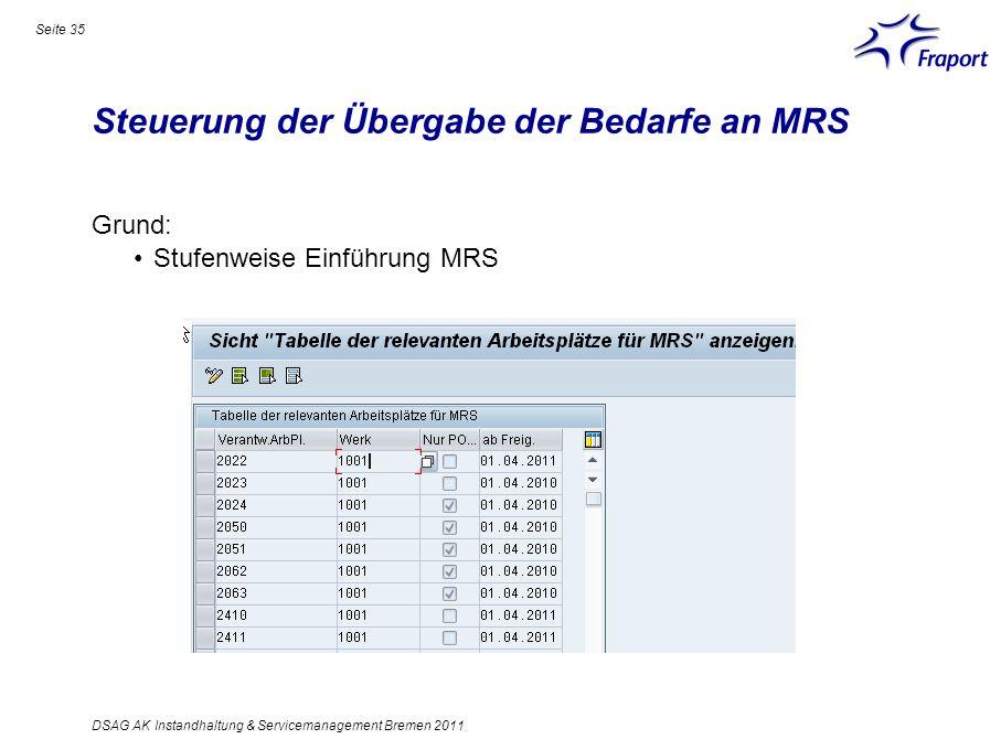 Steuerung der Übergabe der Bedarfe an MRS Seite 35 DSAG AK Instandhaltung & Servicemanagement Bremen 2011 Grund: Stufenweise Einführung MRS