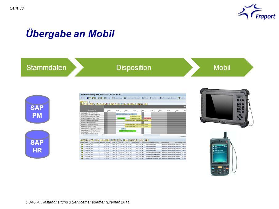 Übergabe an Mobil Seite 38 DSAG AK Instandhaltung & Servicemanagement Bremen 2011 SAP PM SAP HR StammdatenDispositionMobil