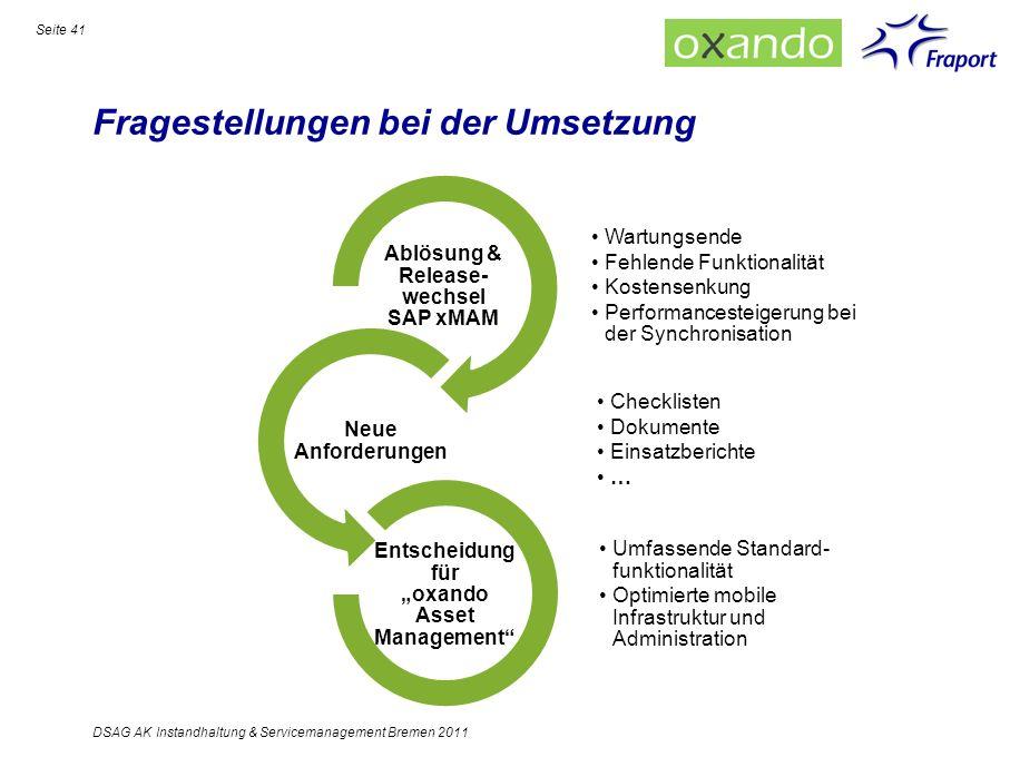 Fragestellungen bei der Umsetzung Seite 41 DSAG AK Instandhaltung & Servicemanagement Bremen 2011 Wartungsende Fehlende Funktionalität Kostensenkung P