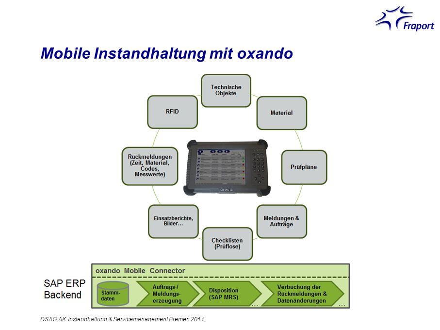 Mobile Instandhaltung mit oxando DSAG AK Instandhaltung & Servicemanagement Bremen 2011