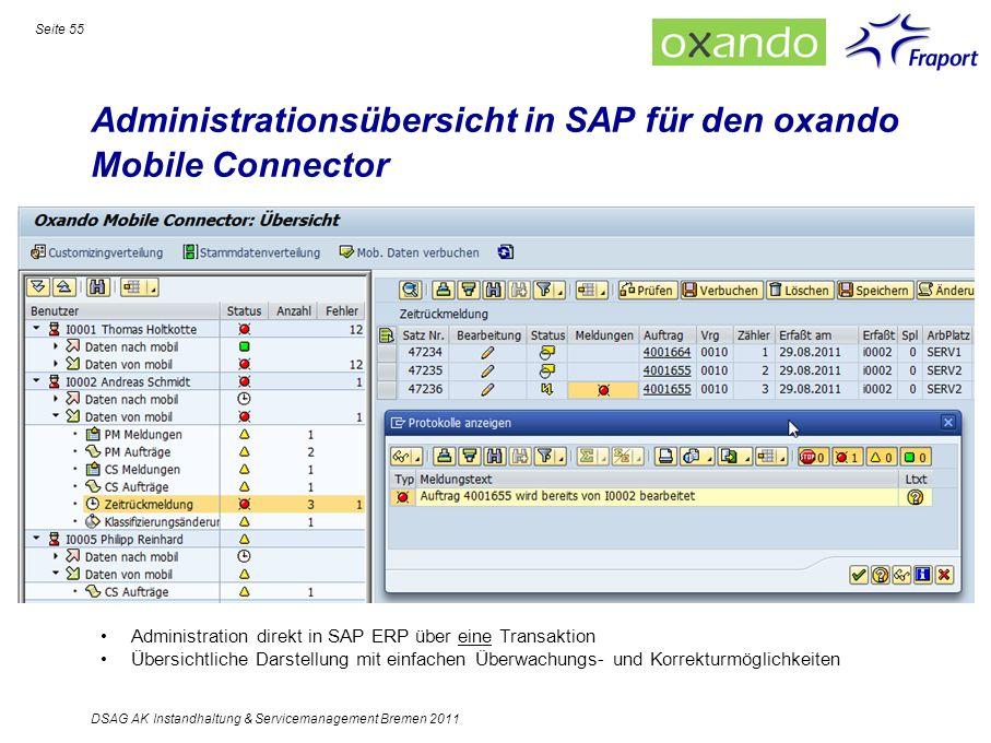 Administrationsübersicht in SAP für den oxando Mobile Connector Administration direkt in SAP ERP über eine Transaktion Übersichtliche Darstellung mit