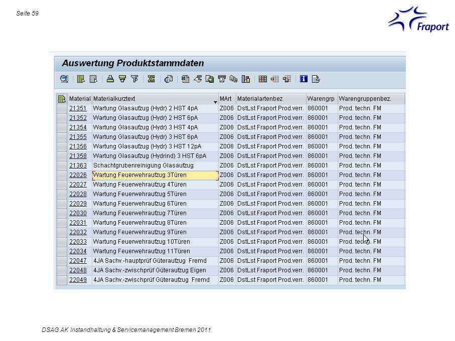 Seite 59 DSAG AK Instandhaltung & Servicemanagement Bremen 2011