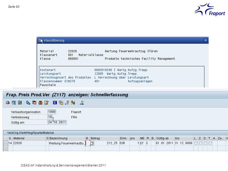Seite 60 DSAG AK Instandhaltung & Servicemanagement Bremen 2011