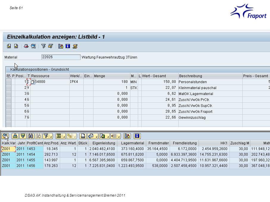 Seite 61 DSAG AK Instandhaltung & Servicemanagement Bremen 2011