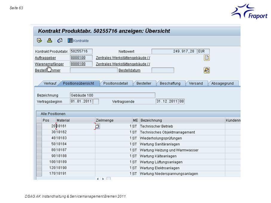 Seite 63 DSAG AK Instandhaltung & Servicemanagement Bremen 2011