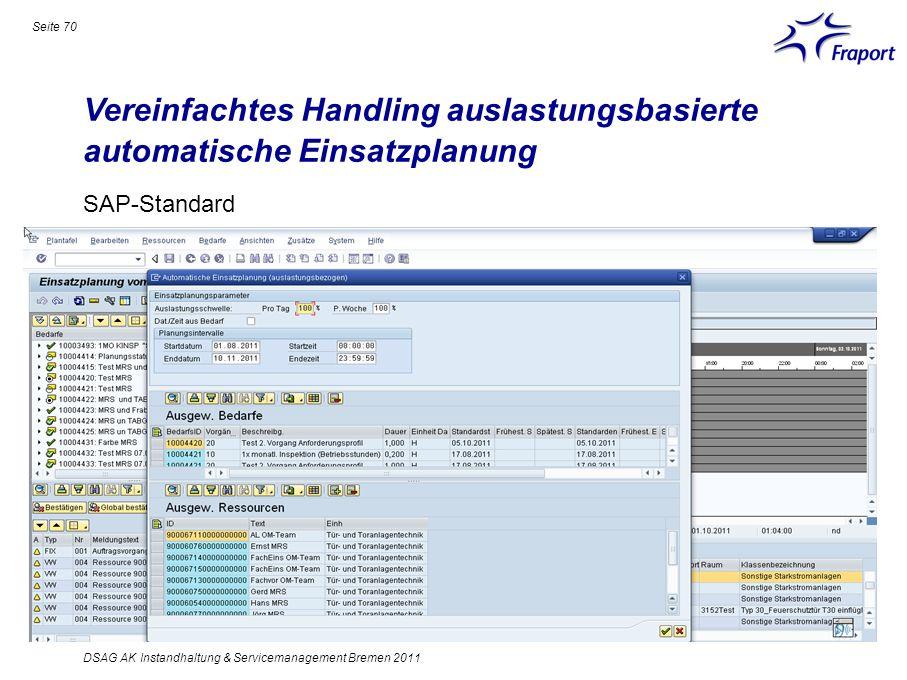 Vereinfachtes Handling auslastungsbasierte automatische Einsatzplanung Seite 70 DSAG AK Instandhaltung & Servicemanagement Bremen 2011 SAP-Standard