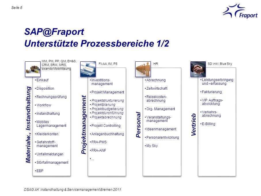 SAP@Fraport Unterstützte Prozessbereiche 1/2 Materialw., Instandhaltung Einkauf Disposition Rechnungsprüfung Workflow Instandhaltung Mobiles Lagermana