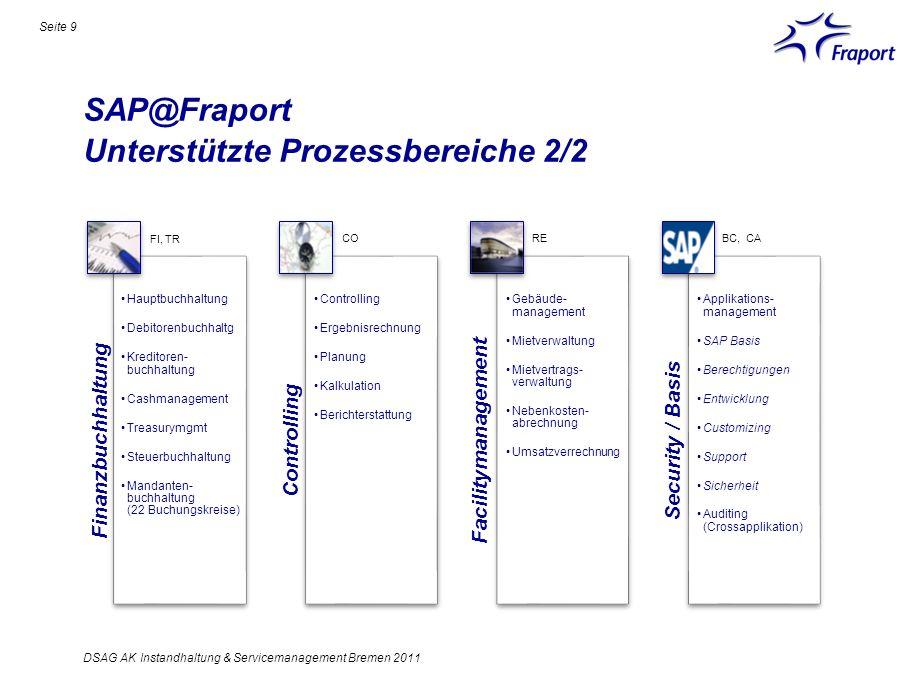 SAP@Fraport Unterstützte Prozessbereiche 2/2 Finanzbuchhaltung Hauptbuchhaltung Debitorenbuchhaltg Kreditoren- buchhaltung Cashmanagement Treasurymgmt