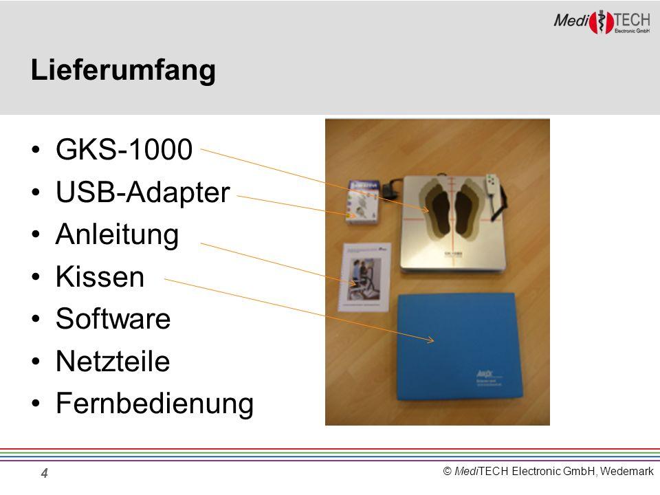 © MediTECH Electronic GmbH, Wedemark Lieferumfang GKS-1000 USB-Adapter Anleitung Kissen Software Netzteile Fernbedienung 4