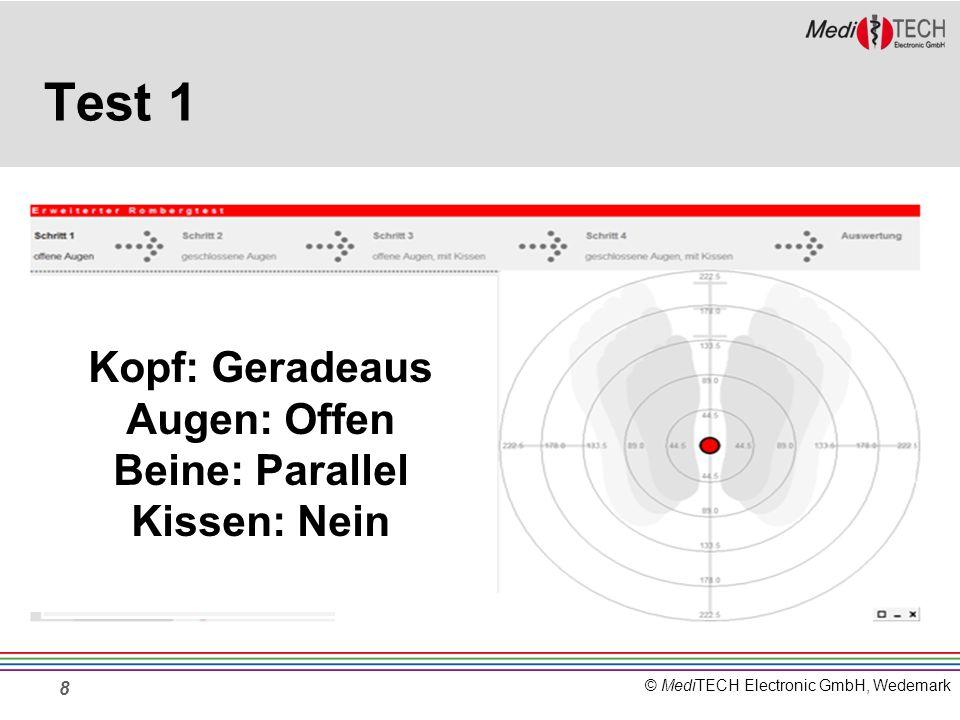 © MediTECH Electronic GmbH, Wedemark Test 1 8 Beidbeinig, Ohne Kissen Kopf: Geradeaus Augen: Offen Beine: Parallel Kissen: Nein