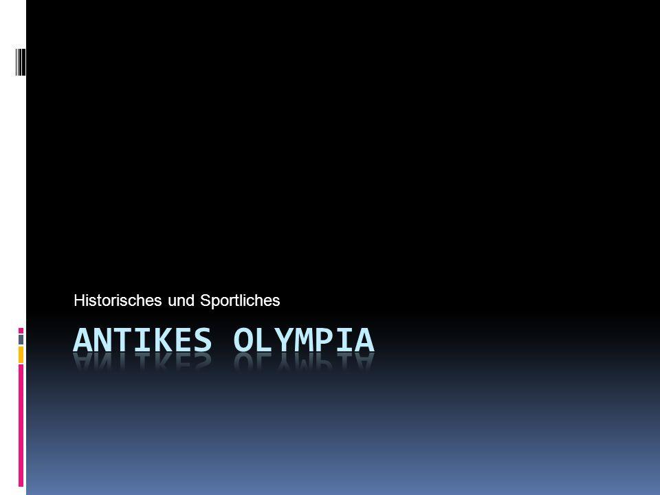Sportarten im Antiken Olympia Leichtathletik Waren die Lauf und 5 Kampfwettbewerbe Älteste Disziplin (war zunächst die einzige Sportart) Nackt, barfuß und im Hochstart (Fehlstarts wurden mit Stockschlägen bestraft) Suschi & Sohn 2008 12