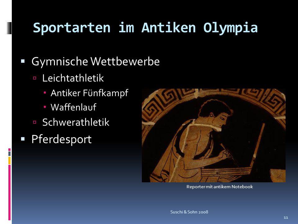 Sportarten im Antiken Olympia Gymnische Wettbewerbe Leichtathletik Antiker Fünfkampf Waffenlauf Schwerathletik Pferdesport Suschi & Sohn 2008 11 Repor