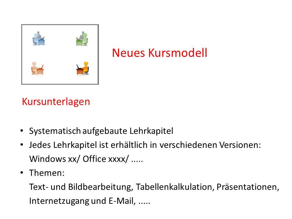 Neues Kursmodell Kursunterlagen Systematisch aufgebaute Lehrkapitel Jedes Lehrkapitel ist erhältlich in verschiedenen Versionen: Windows xx/ Office xx