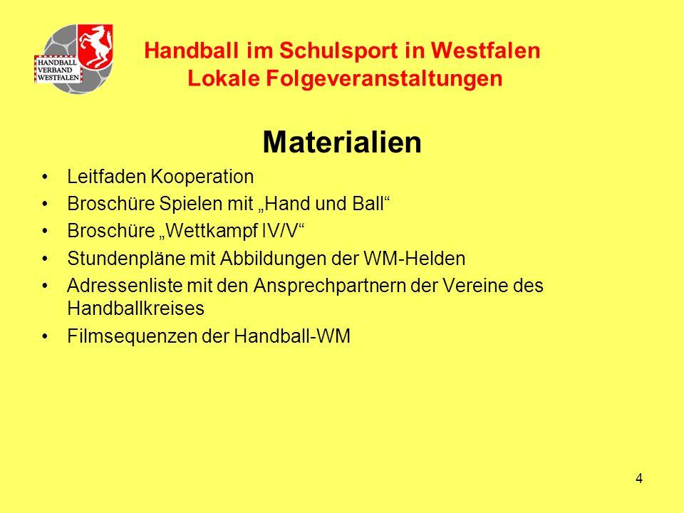 4 Handball im Schulsport in Westfalen Lokale Folgeveranstaltungen Materialien Leitfaden Kooperation Broschüre Spielen mit Hand und Ball Broschüre Wettkampf IV/V Stundenpläne mit Abbildungen der WM-Helden Adressenliste mit den Ansprechpartnern der Vereine des Handballkreises Filmsequenzen der Handball-WM