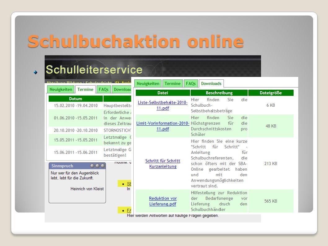 Schulbuchaktion online Einstieg, Termine, Anleitungen