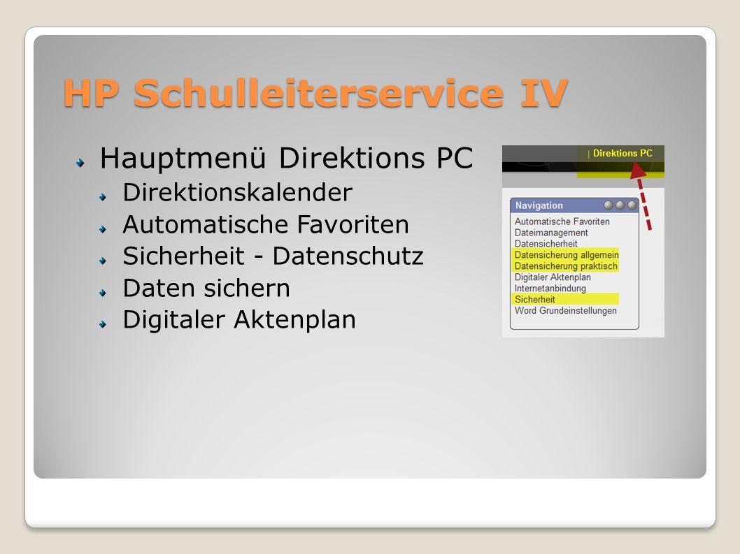 HP Schulleiterservice IV Hauptmenü Direktions PC Direktionskalender Automatische Favoriten Sicherheit - Datenschutz Daten sichern Digitaler Aktenplan