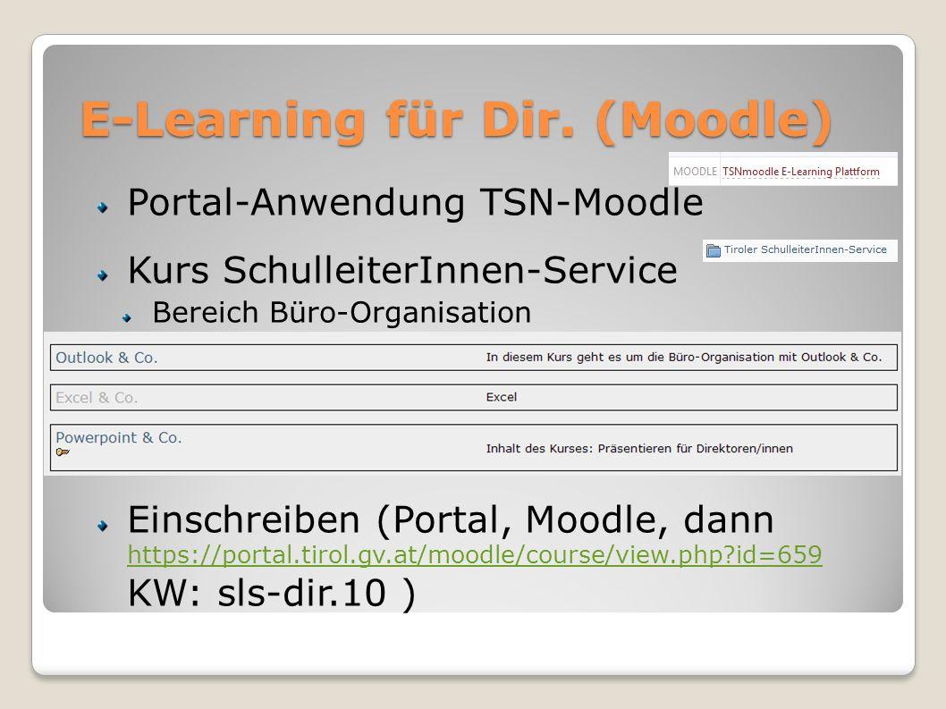 E-Learning für Dir. (Moodle) Portal-Anwendung TSN-Moodle Kurs SchulleiterInnen-Service Bereich Büro-Organisation Einschreiben (Portal, Moodle, dann ht
