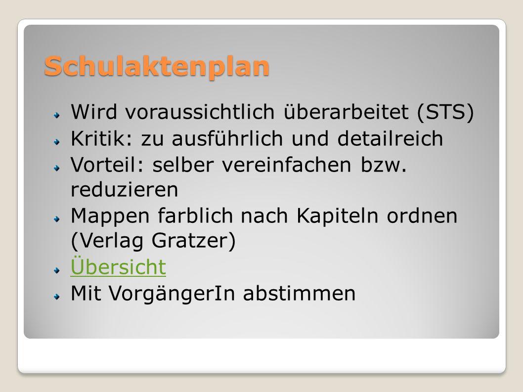 Schulaktenplan Wird voraussichtlich überarbeitet (STS) Kritik: zu ausführlich und detailreich Vorteil: selber vereinfachen bzw. reduzieren Mappen farb