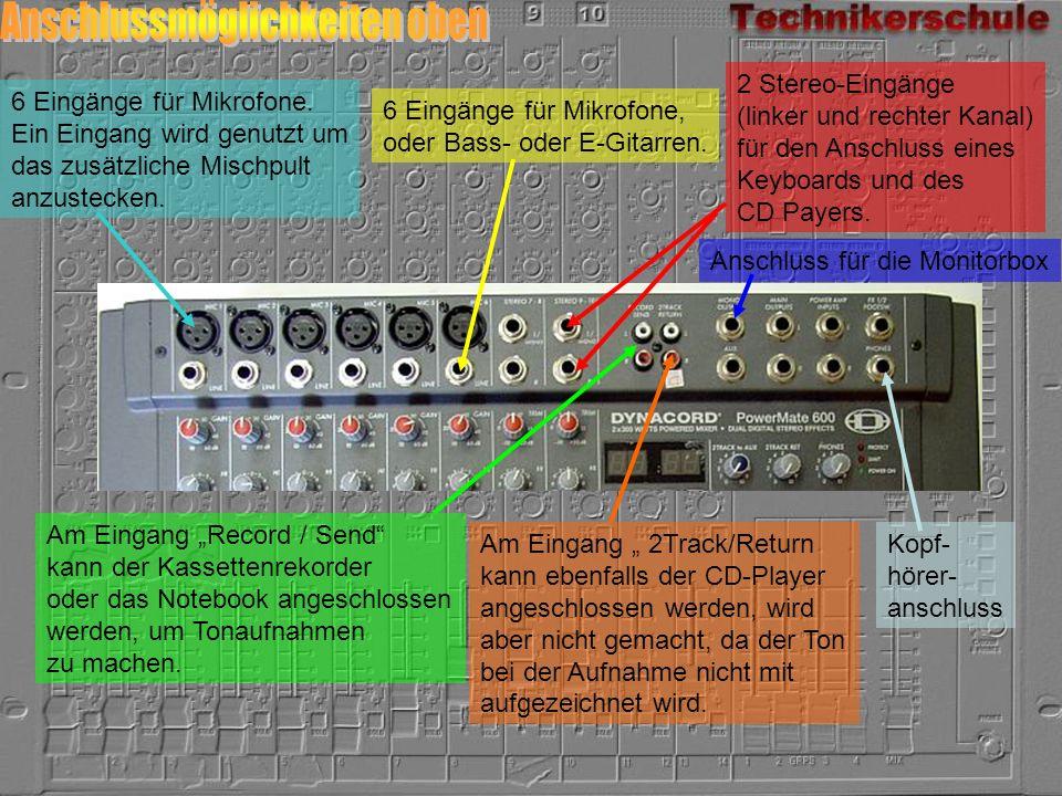 6 Eingänge für Mikrofone. Ein Eingang wird genutzt um das zusätzliche Mischpult anzustecken. 6 Eingänge für Mikrofone, oder Bass- oder E-Gitarren. 2 S
