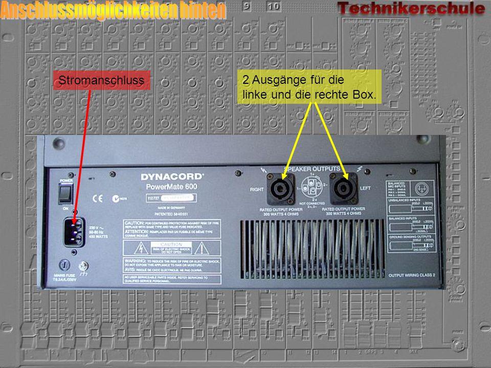 2 Ausgänge für die linke und die rechte Box. Stromanschluss