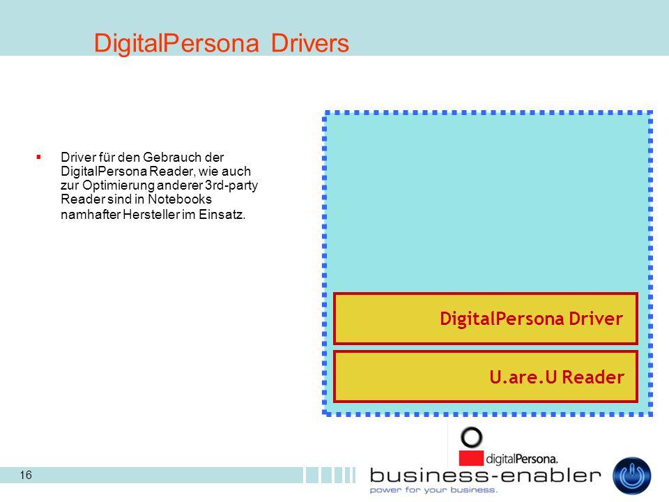16 Driver für den Gebrauch der DigitalPersona Reader, wie auch zur Optimierung anderer 3rd-party Reader sind in Notebooks namhafter Hersteller im Einsatz.