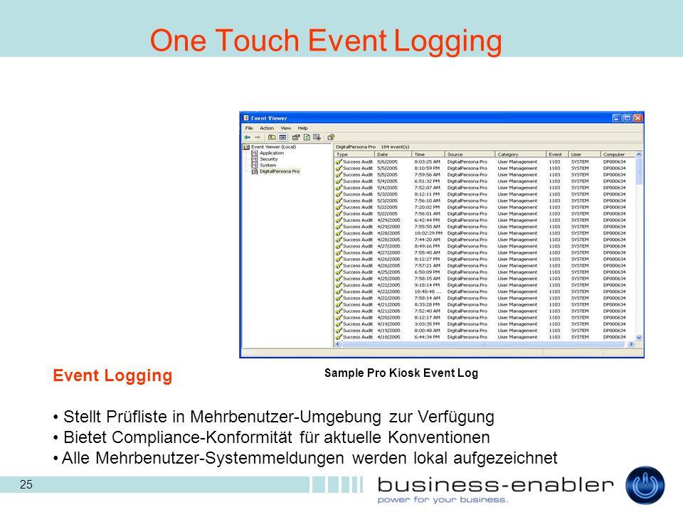 25 Sample Pro Kiosk Event Log One Touch Event Logging Event Logging Stellt Prüfliste in Mehrbenutzer-Umgebung zur Verfügung Bietet Compliance-Konformität für aktuelle Konventionen Alle Mehrbenutzer-Systemmeldungen werden lokal aufgezeichnet