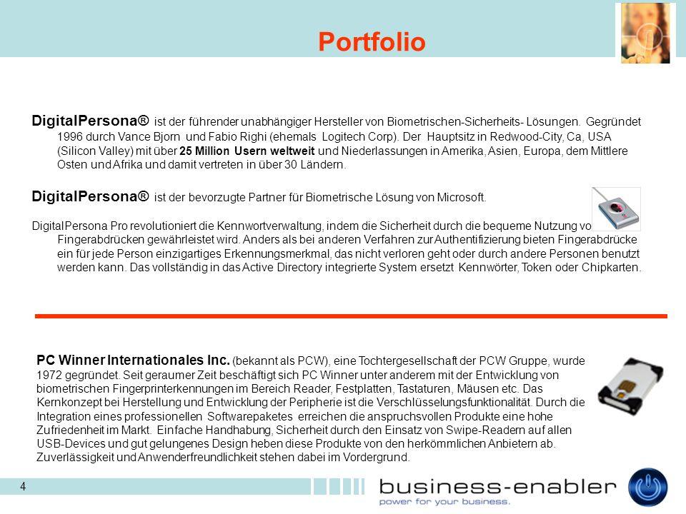 4 Portfolio DigitalPersona® ist der führender unabhängiger Hersteller von Biometrischen-Sicherheits- Lösungen.