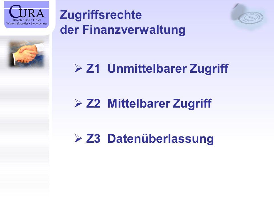 Zugriffsrechte der Finanzverwaltung Z1 Unmittelbarer Zugriff Z2 Mittelbarer Zugriff Z3 Datenüberlassung