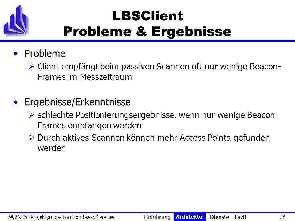 14 14.10.05 Projektgruppe Location-based Services LBSClient Probleme & Ergebnisse Probleme Client empfängt beim passiven Scannen oft nur wenige Beacon
