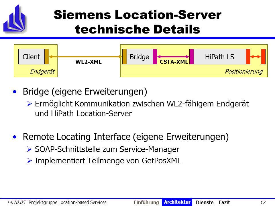 17 14.10.05 Projektgruppe Location-based Services Client Positionierung Location-Server Siemens Location-Server technische Details Bridge (eigene Erwe