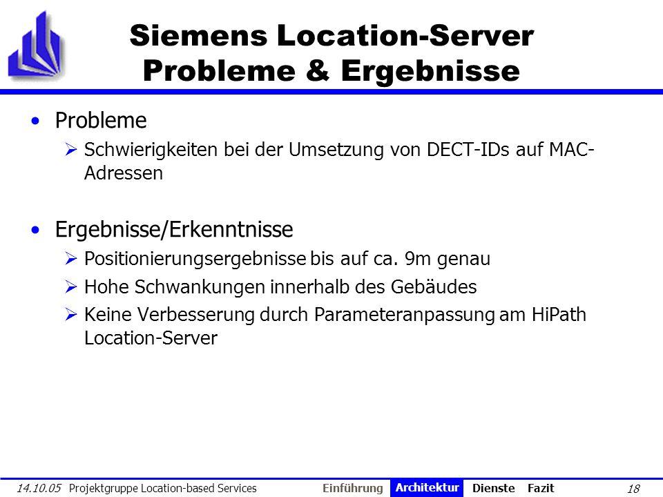 18 14.10.05 Projektgruppe Location-based Services Siemens Location-Server Probleme & Ergebnisse Probleme Schwierigkeiten bei der Umsetzung von DECT-ID