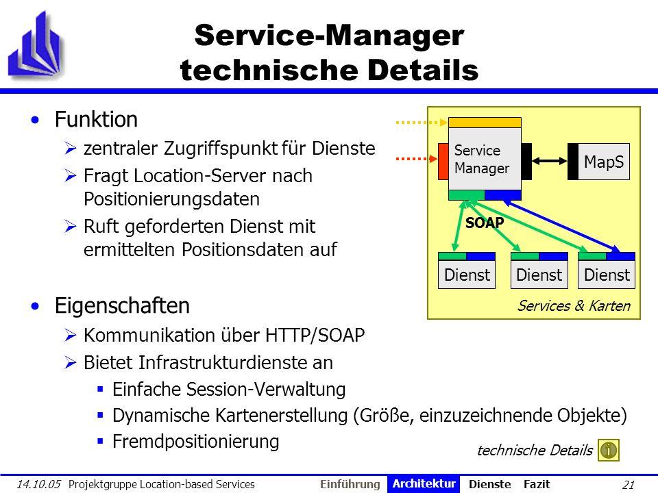 21 14.10.05 Projektgruppe Location-based Services Service-Manager technische Details Funktion zentraler Zugriffspunkt für Dienste Fragt Location-Serve