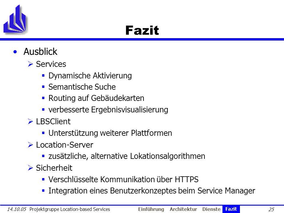 25 14.10.05 Projektgruppe Location-based Services Fazit Ausblick Services Dynamische Aktivierung Semantische Suche Routing auf Gebäudekarten verbesser