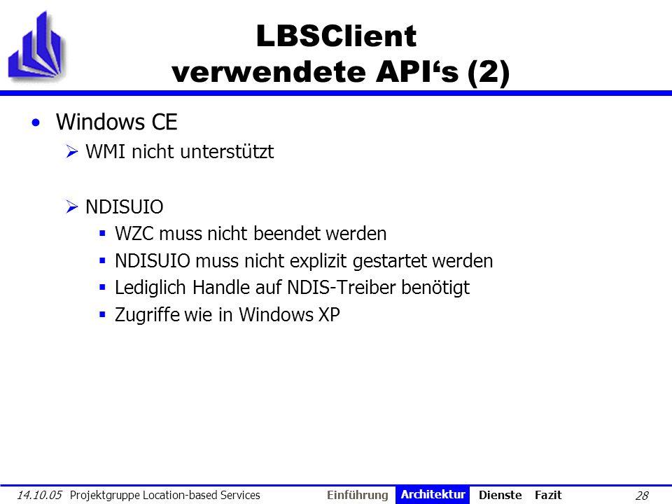 28 14.10.05 Projektgruppe Location-based Services LBSClient verwendete APIs (2) Windows CE WMI nicht unterstützt NDISUIO WZC muss nicht beendet werden