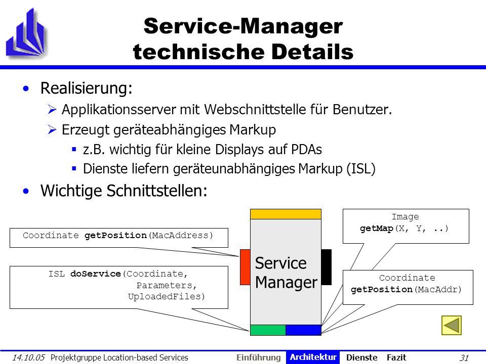31 14.10.05 Projektgruppe Location-based Services Service-Manager technische Details Realisierung: Applikationsserver mit Webschnittstelle für Benutze