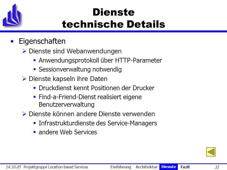 32 14.10.05 Projektgruppe Location-based Services Dienste technische Details Eigenschaften Dienste sind Webanwendungen Anwendungsprotokoll über HTTP-P