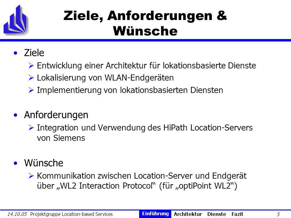 5 14.10.05 Projektgruppe Location-based Services Ziele, Anforderungen & Wünsche Ziele Entwicklung einer Architektur für lokationsbasierte Dienste Loka