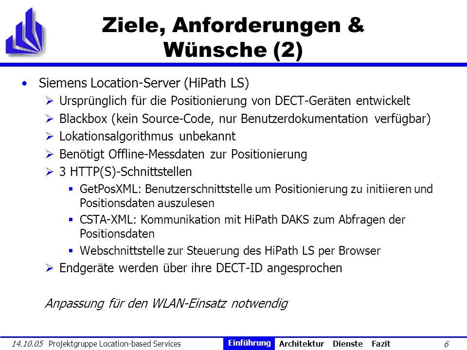 6 14.10.05 Projektgruppe Location-based Services Ziele, Anforderungen & Wünsche (2) Siemens Location-Server (HiPath LS) Ursprünglich für die Positioni