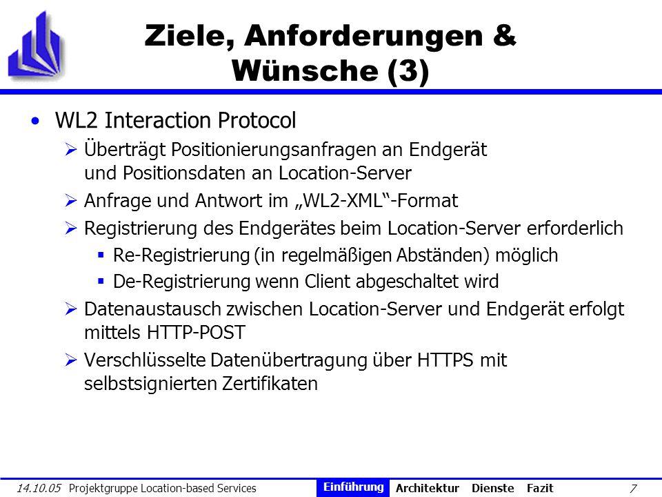 7 14.10.05 Projektgruppe Location-based Services Ziele, Anforderungen & Wünsche (3) WL2 Interaction Protocol Überträgt Positionierungsanfragen an Endg