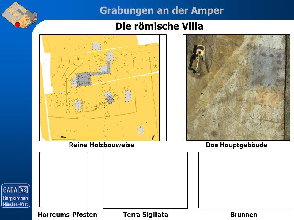 Grabungen an der Amper Die römische Villa Reine HolzbauweiseDas Hauptgebäude Horreums-PfostenTerra SigillataBrunnen