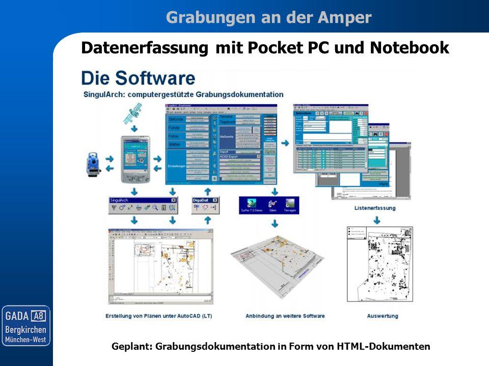 Grabungen an der Amper Geplant: Grabungsdokumentation in Form von HTML-Dokumenten Datenerfassung mit Pocket PC und Notebook