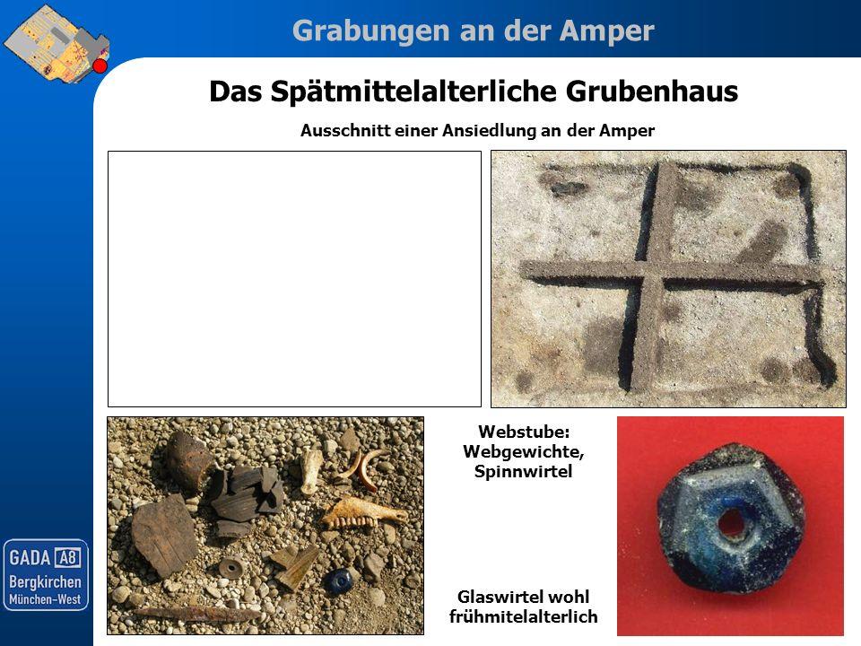 Grabungen an der Amper Das Spätmittelalterliche Grubenhaus Ausschnitt einer Ansiedlung an der Amper Webstube: Webgewichte, Spinnwirtel Glaswirtel wohl