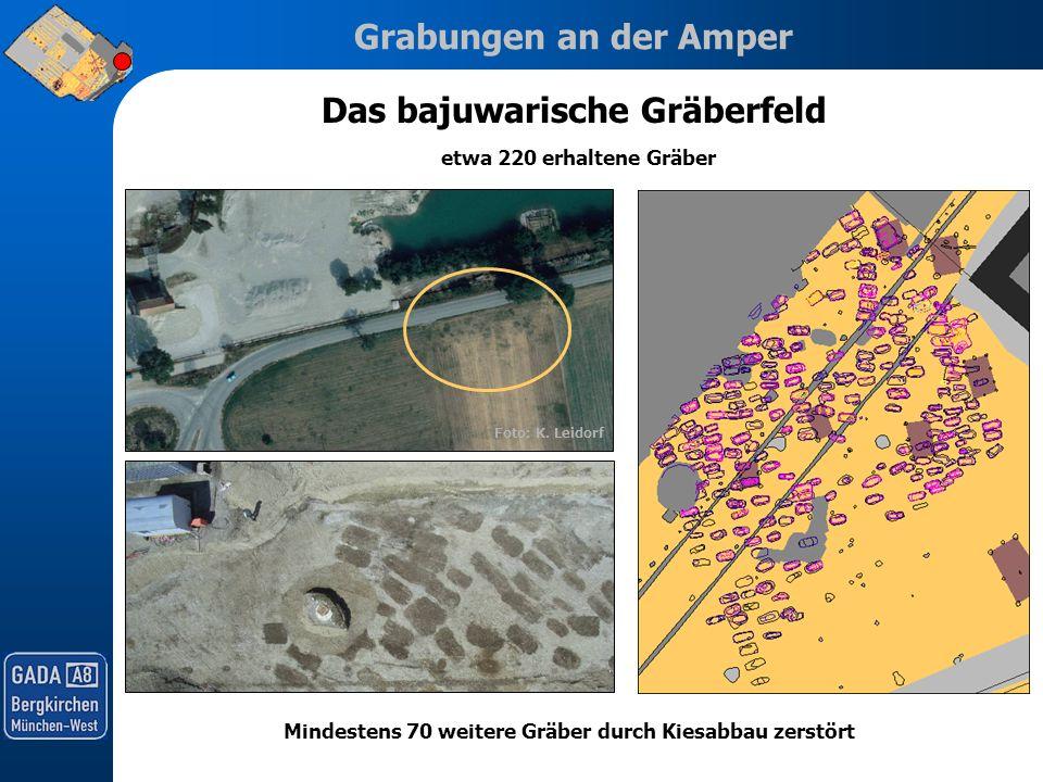 Grabungen an der Amper Foto: K. Leidorf Das bajuwarische Gräberfeld etwa 220 erhaltene Gräber Mindestens 70 weitere Gräber durch Kiesabbau zerstört