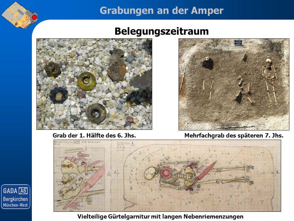 Grabungen an der Amper Belegungszeitraum Vielteilige Gürtelgarnitur mit langen Nebenriemenzungen Grab der 1. Hälfte des 6. Jhs.Mehrfachgrab des später