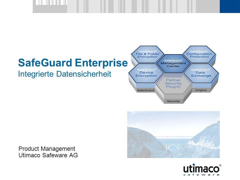 Utimaco Safeware AG, 2007 22 SG Enterprise Überblick SafeGuard Data Exchange Verschlüsselter Datenaus- tausch mit Externen Dritten via Datei, E-Mail, Wechselmedien Nahtlose Integration in gängige E-Mail-Programme (u.a.