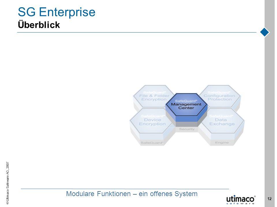 Utimaco Safeware AG, 2007 12 SG Enterprise Überblick Modulare Funktionen – ein offenes System