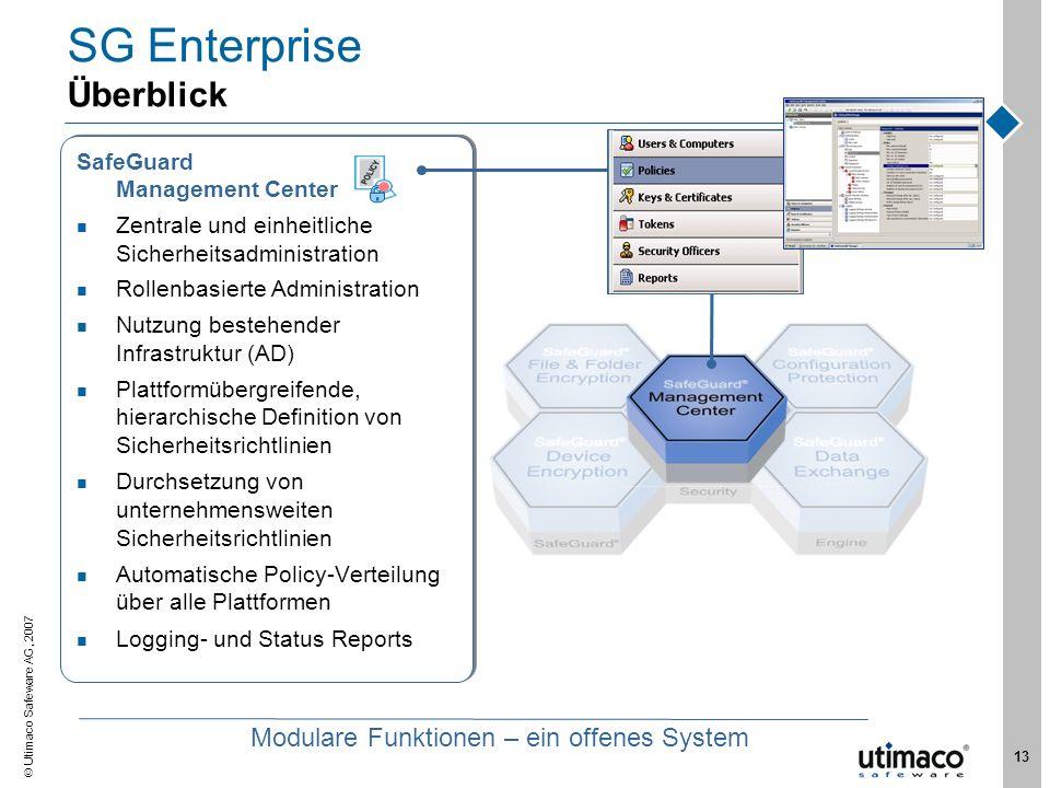 Utimaco Safeware AG, 2007 13 SG Enterprise Überblick SafeGuard Management Center Zentrale und einheitliche Sicherheitsadministration Rollenbasierte Ad