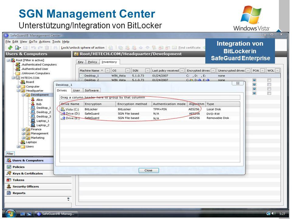 Utimaco Safeware AG, 2007 20 SGN Management Center Unterstützung/Integration von BitLocker Integration von BitLocker in SafeGuard Enterprise