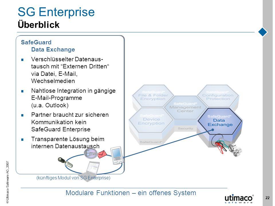 Utimaco Safeware AG, 2007 22 SG Enterprise Überblick SafeGuard Data Exchange Verschlüsselter Datenaus- tausch mit Externen Dritten via Datei, E-Mail,