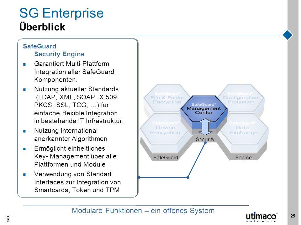 Utimaco Safeware AG, 2007 25 EngineSafeGuard Security SG Enterprise Überblick SafeGuard Security Engine Garantiert Multi-Plattform Integration aller S